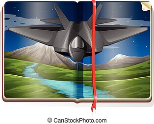 Book with jet flying over the field