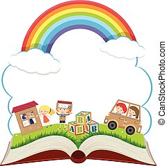 Book with kids in the park