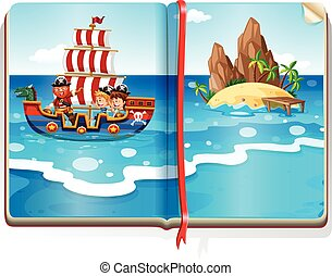 Book with kids sailing in the ocean