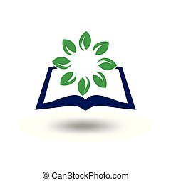 book with leaf green around logo vector
