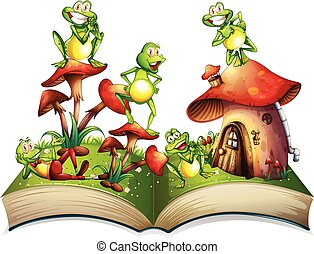 Book with many frogs smiling