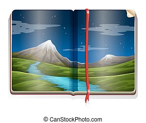 Book with nature scene at night