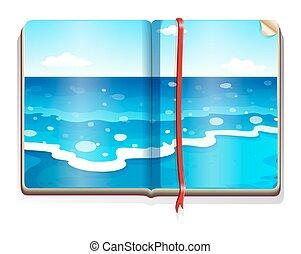 Book with ocean scene