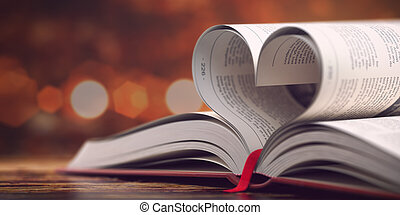 Book with opened pages in form of heart. Reading, religion and love concept. 3d illustration