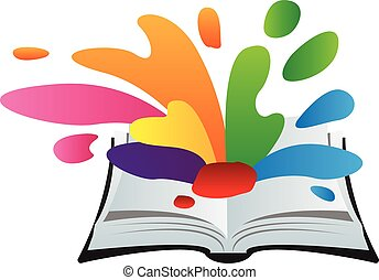book with paint splash