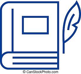 Book with pen, literature line icon concept. Book with pen, literature flat vector symbol, sign, outline illustration.