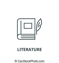 Book with pen, literature line icon, vector. Book with pen, literature outline sign, concept symbol, flat illustration