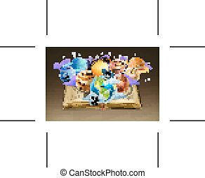 Book with planets background - Book with planets, background...