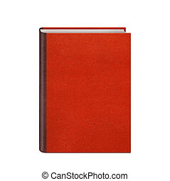 Book with red hardcover isolated on white background