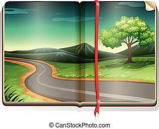 Book with road scene along the countryside