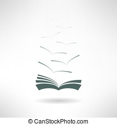 Book with seagulls made in flat design. Vector - Book icon...