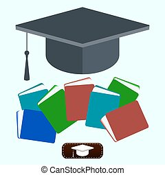 book with square academic cap icon. education concept design. Vector illustration.
