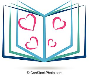 Book with stylized hearts logo