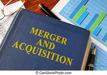 Book with title Merger and Acquisition on a table.
