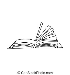 Book With Turn Over Pages Icon Outline Style