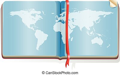 Book with world map