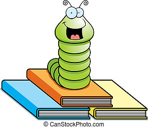 A happy cartoon worm on top of books.