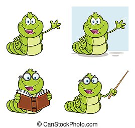 Book Worm Mascot Cartoon Character Set 1. Collection