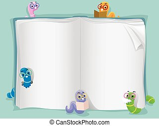 Book Worms - Background Illustration of an Open Book...