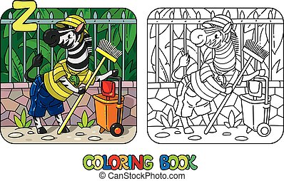 book., z, gardien, coloration, animal, alphabet, zoo, zebra