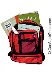 bookbag full of books and other supplies for school