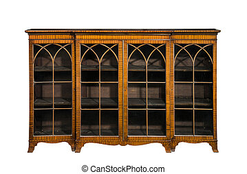 bookcase cabinet antique vintage with glass doors isolated...