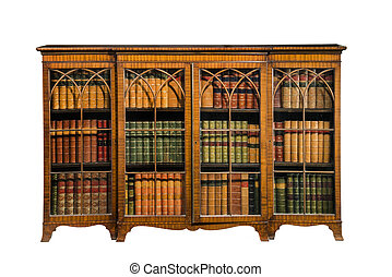 bookcase cabinet antique vintage with glass doors isolated on white