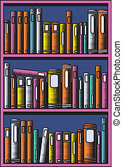 Bookcase - Editable vector illustration of books in a...