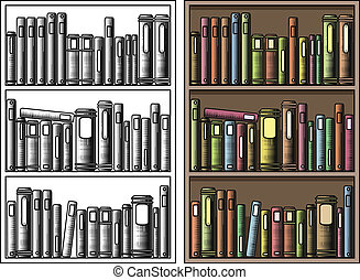 Bookcase - Editable vector illustration of books in a ...