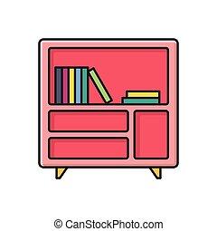 bookcase  flat color icon