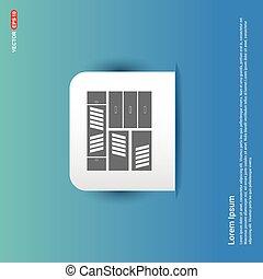 Bookcase furniture icon - Blue Sticker button