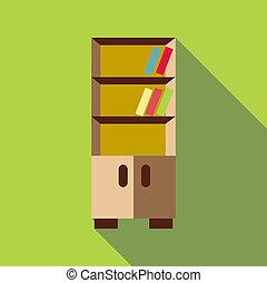 Bookcase icon, flat style