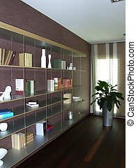 bookcase in a modern apartment