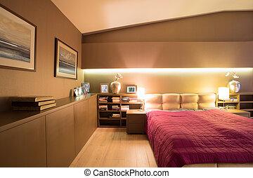 Bookcase in luxury bedroom