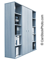 bookcase with a folders