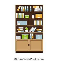 Bookcase with books, boxes and folders for office
