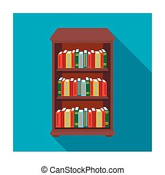 Bookcase with books icon in flat style isolated on white background. Library and bookstore symbol stock vector illustration.