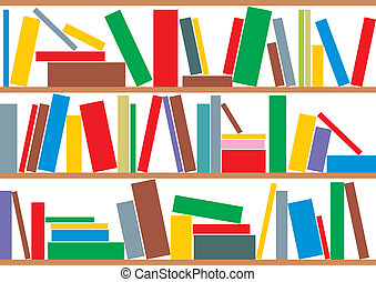 bookcase with color books as nice background