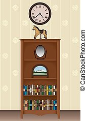 Bookcase with various items under a clock on the wall