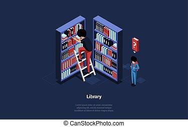 bookcases., characters., kinyerés, vektor, isometric, emberek, tudás, álló, concept., 3, tanulás, ábra, zenemű beír, karikatúra, könyvtár, ikon, mód, létra, könyvespolcok, két