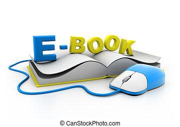 book.(e-learning, komputerowa mysz, concept)