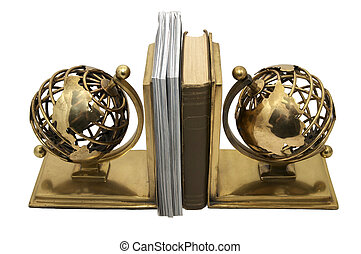 stand for the book in a planet earth on white background