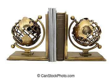 support for books in a globe on a white background