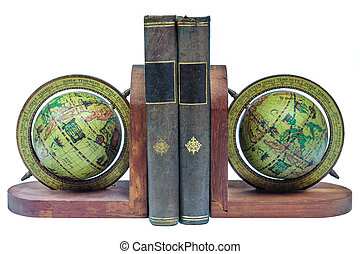 Globe bookends with ancient books isolated on a white background