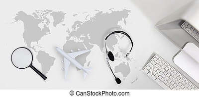 booking and search flight ticket air travel trip vacation concept, banner web template