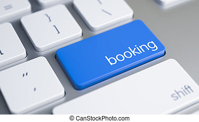 Booking - Caption on Blue Keyboard Button. 3D.