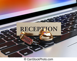 Booking concept - 3d rendering of reception bell and room...