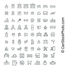 Booking hotel room services thin line vector icons