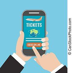 Booking online flights travel or ticket.