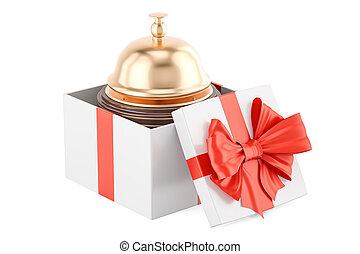 Booking service in gift concept. 3D rendering